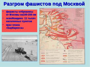 Разгром фашистов под Москвой фашисты отброшены от Москвы на100-250 км освобож