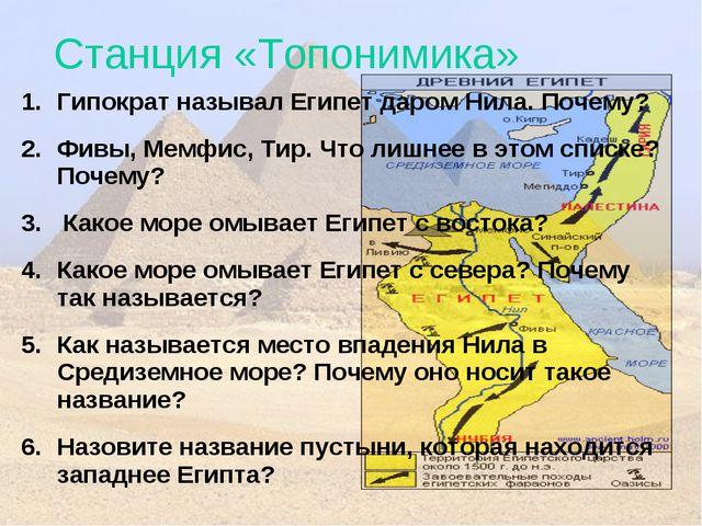Станция «Топонимика» Гипократ называл Египет даром Нила. Почему? Фивы, Мемфис...