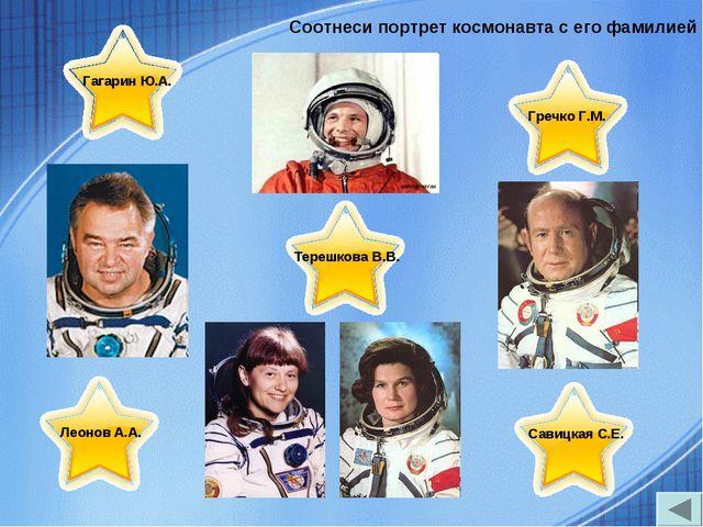 Соотнеси портрет космонавта с его фамилией Леонов А.А. Гагарин Ю.А. Гречко Г....