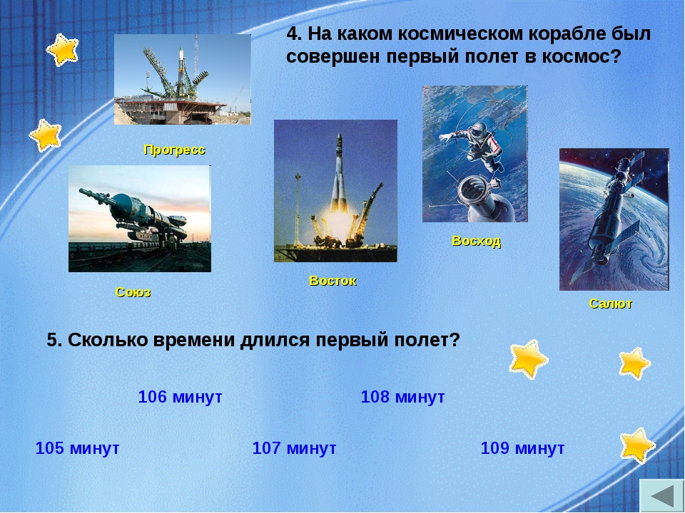 5. Сколько времени длился первый полет? 4. На каком космическом корабле был...
