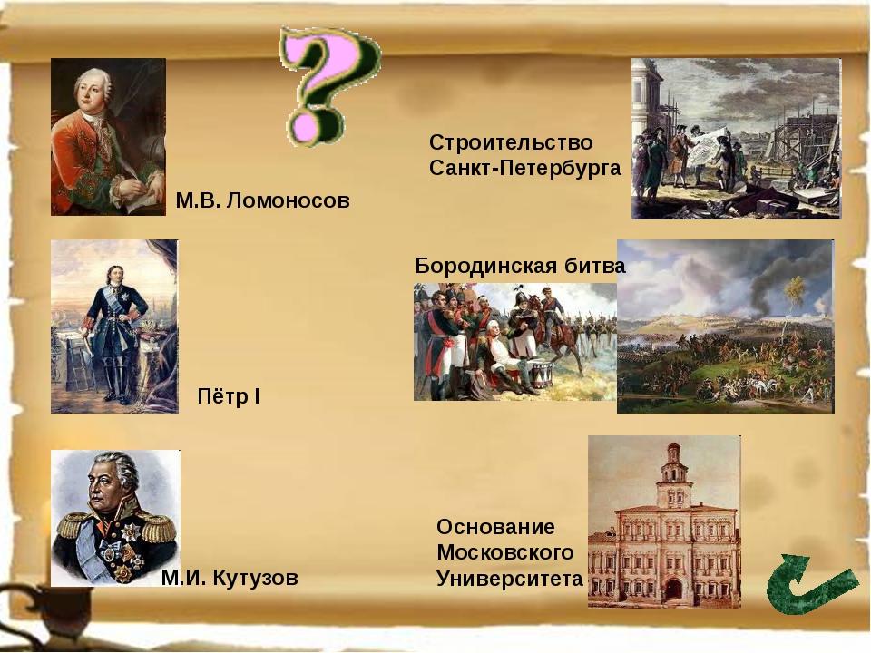 Строительство Санкт-Петербурга Основание Московского Университета Бородинска...