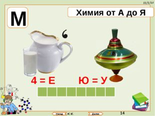 Аринова Н.И. Назад Далее М Химия от А до Я Е К У Л Л О М А 4 = Е Ю = У
