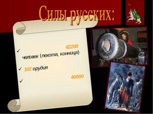 Регулярная армия ̶ 42208 человек (пехота, конница) 102 орудия Украинские каз