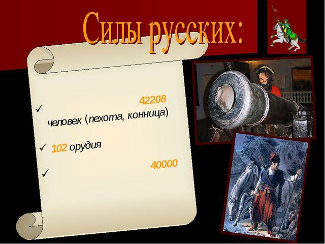 Регулярная армия ̶ 42208 человек (пехота, конница) 102 орудия Украинские каз...