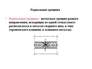 Радиальная трещина Радиальная трещина - несколько трещин разного направления,