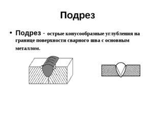 Подрез Подрез - острые конусообразные углубления на границе поверхности сварн