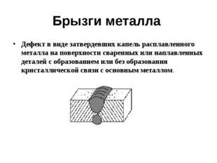 Брызги металла Дефект в виде затвердевших капель расплавленного металла на по
