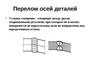 Перелом осей деталей Угловое смещение - смещение между двумя свариваемыми дет