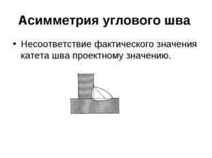 Асимметрия углового шва Несоответствие фактического значения катета шва проек