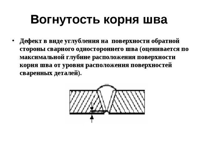 Вогнутость корня шва Дефект в виде углубления на поверхности обратной стороны...