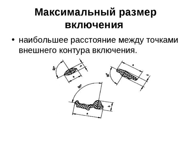 Максимальный размер включения наибольшее расстояние между точками внешнего ко...