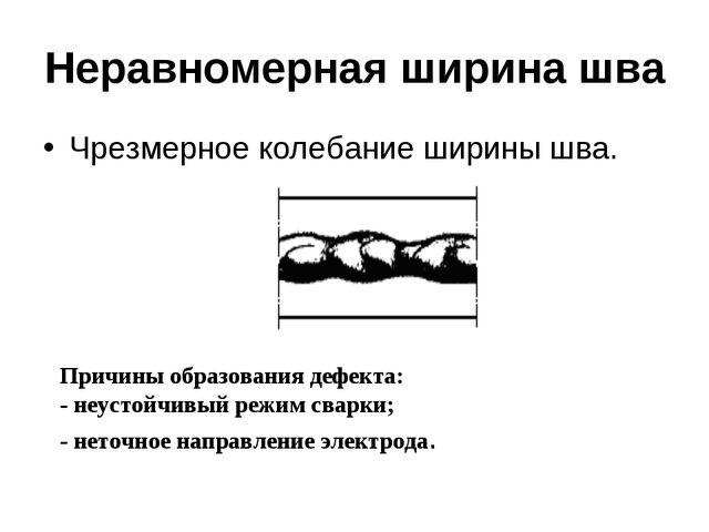 Неравномерная ширина шва Чрезмерное колебание ширины шва.