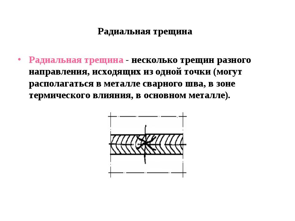 Радиальная трещина Радиальная трещина - несколько трещин разного направления,...
