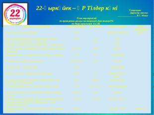 22-қыркүйек – ҚР Тілдер күні Утверждаю: Директор школы: _________________В.С.