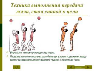 Техника выполнения передачи мяча, стоя спиной к цели Встреча рук с мячом прои