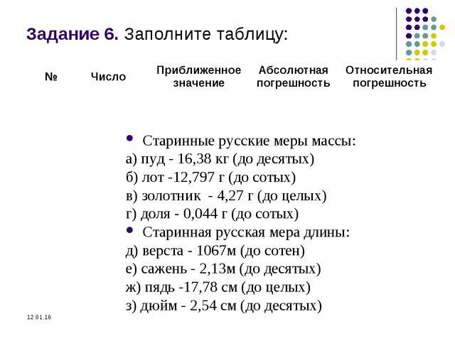 Задание 6. Заполните таблицу: Старинные русские меры массы: а) пуд - 16,38 кг...