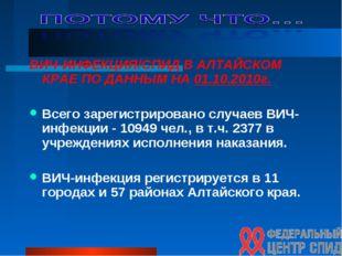 ВИЧ-ИНФЕКЦИЯ/СПИД В АЛТАЙСКОМ КРАЕ ПО ДАННЫМ НА 01.10.2010г. Всего зарегистри