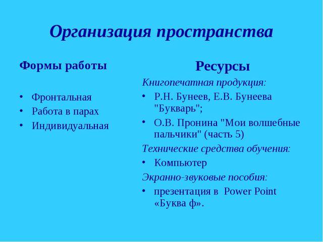 Организация пространства Формы работы Фронтальная Работа в парах Индивидуальн...
