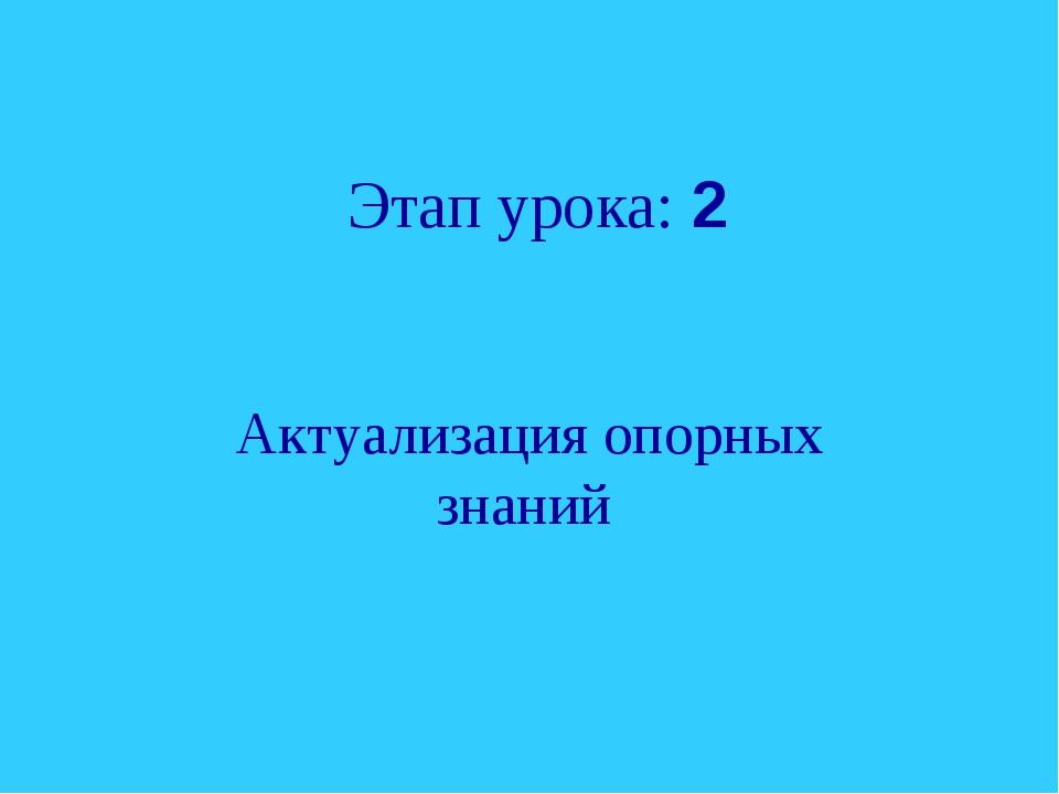 Этап урока: 2 Актуализация опорных знаний