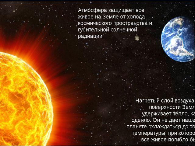 Атмосфера защищает все живое на Земле от холода космического пространства и...