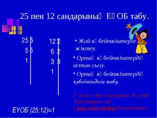 25 пен 12 сандарының ЕҮОБ табу. 25 5 5 5 1 12 2 6 2 3 3 1 Жай көбейткіштерге