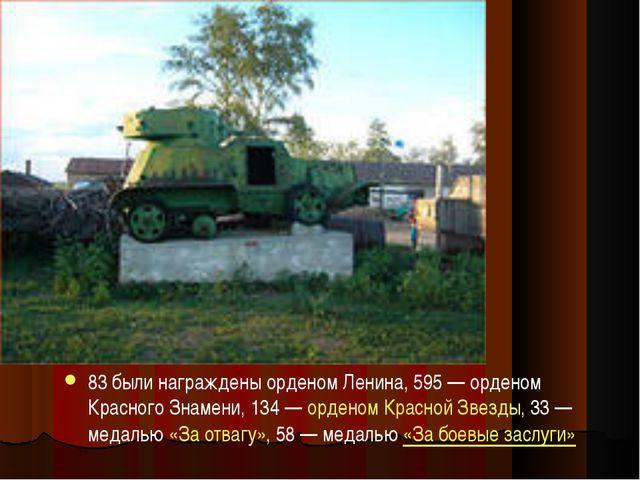 83 были награждены орденом Ленина, 595— орденом Красного Знамени, 134—орде...