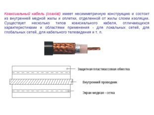 Коаксиальный кабель (coaxial) имеет несимметричную конструкцию и состоит из в