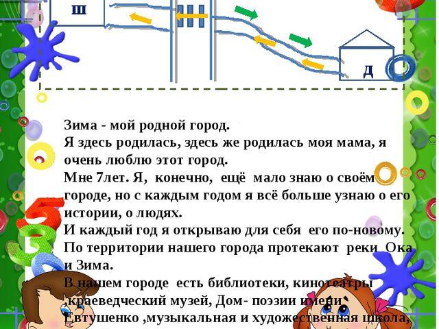 Схема маршрута школа -дом Зима - мой родной город. Я здесь родилась, здесь же...