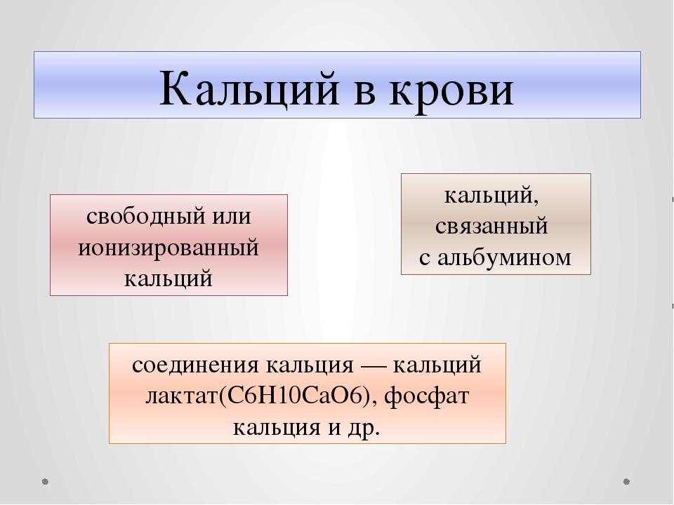 Кальций в крови свободный или ионизированный кальций соединения кальция— кал...