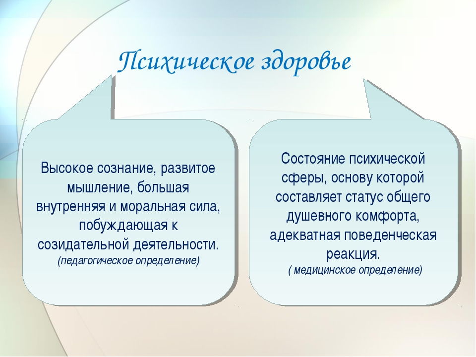 Психическое здоровье Состояние психической сферы, основу которой составляет с...