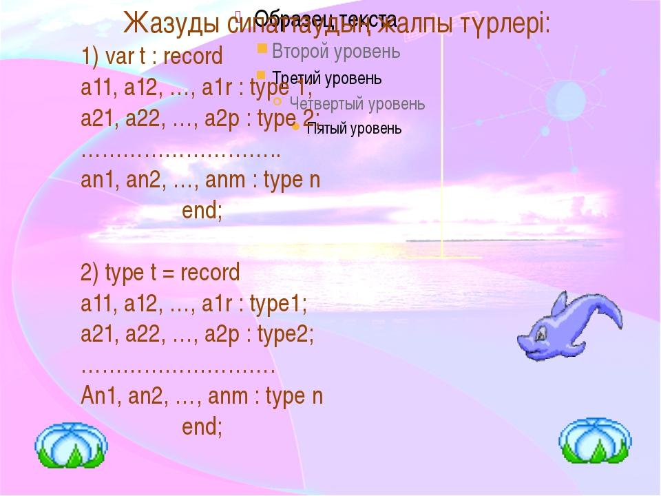 Мұндағы Aij– алаң айнымалылары; type - алаңдардың типі; t - тип аты. Record...