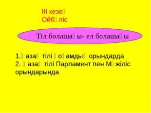 1.Қазақ тілі қоғамдық орындарда 2. Қазақ тілі Парламент пен Мәжіліс орындары