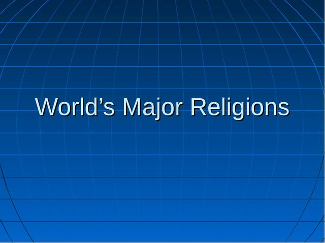 World's Major Religions