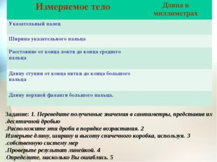 Задание: 1. Переведите полученные значения в сантиметры, представив их десяти
