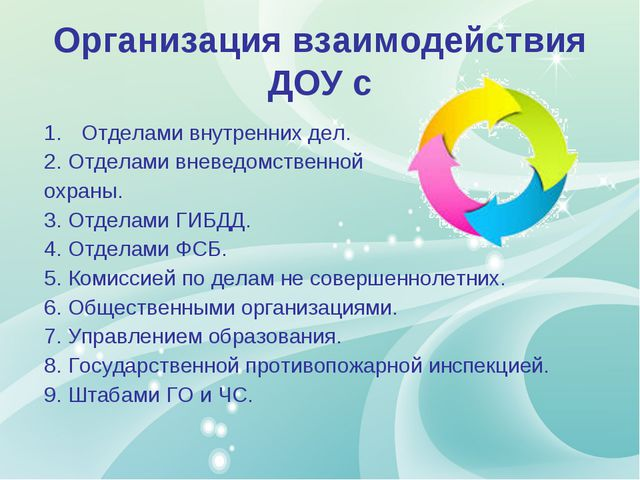 Организация взаимодействия ДОУ с Отделами внутренних дел. 2. Отделами вневедо...