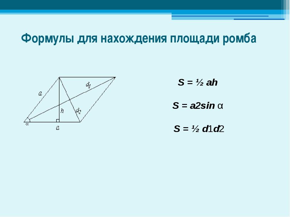 Формулы для нахождения площади ромба S = ½ ah S = a2sin α S = ½ d1d2