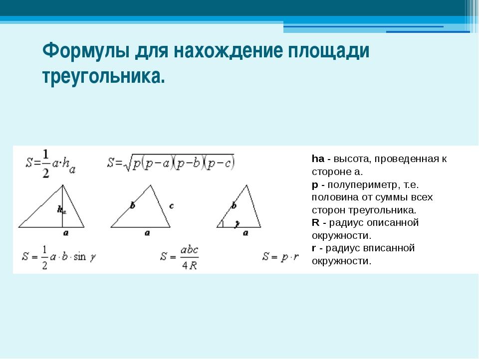 Формулы для нахождение площади треугольника. ha - высота, проведенная к сторо...