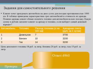 Проверка Ответ:4960 Задания для самостоятельного решения Клиент хочет арендов