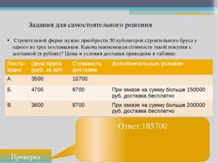 Задания для самостоятельного решения Проверка Ответ:185700 Строительной фирме