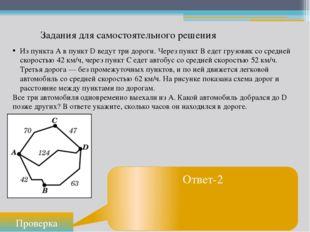 Задания для самостоятельного решения Проверка Ответ-2 Из пункта А в пункт D в