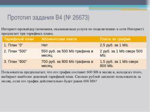 Прототип задания B4 (№ 26673) Интернет-провайдер (компания, оказывающая услуг