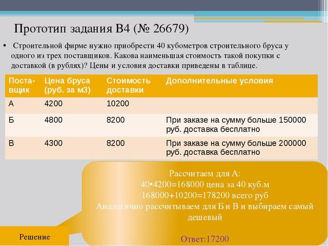 Прототип задания B4 (№ 26679) Рассчитаем для А: 40•4200=168000 цена за 40 куб...