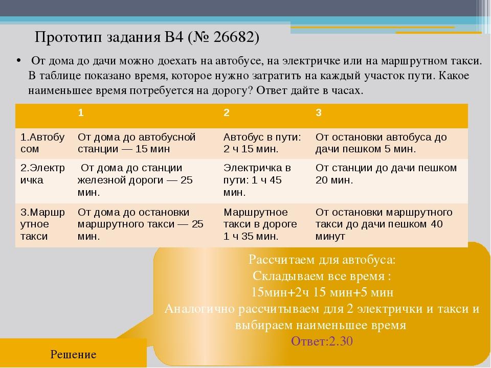 Прототип задания B4 (№ 26682) Рассчитаем для автобуса: Складываем все время :...