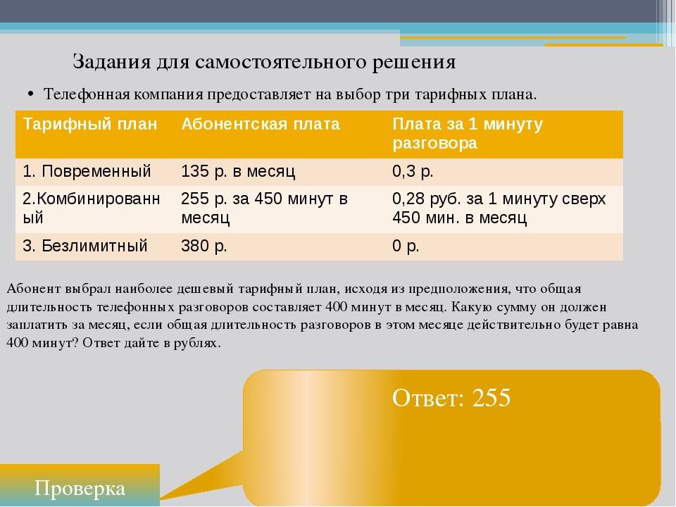 Задания для самостоятельного решения Ответ: 255 Проверка Телефонная компания...