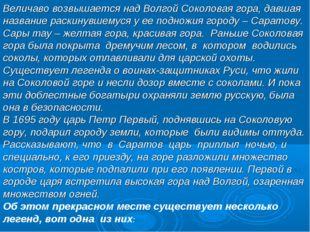 Величаво возвышается над Волгой Соколовая гора, давшая название раскинувшемус