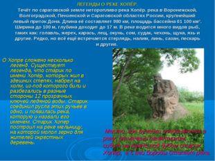 ЛЕГЕНДЫ О РЕКЕ ХОПЁР. Течёт по саратовской земле неторопливо река Хопёр. рек