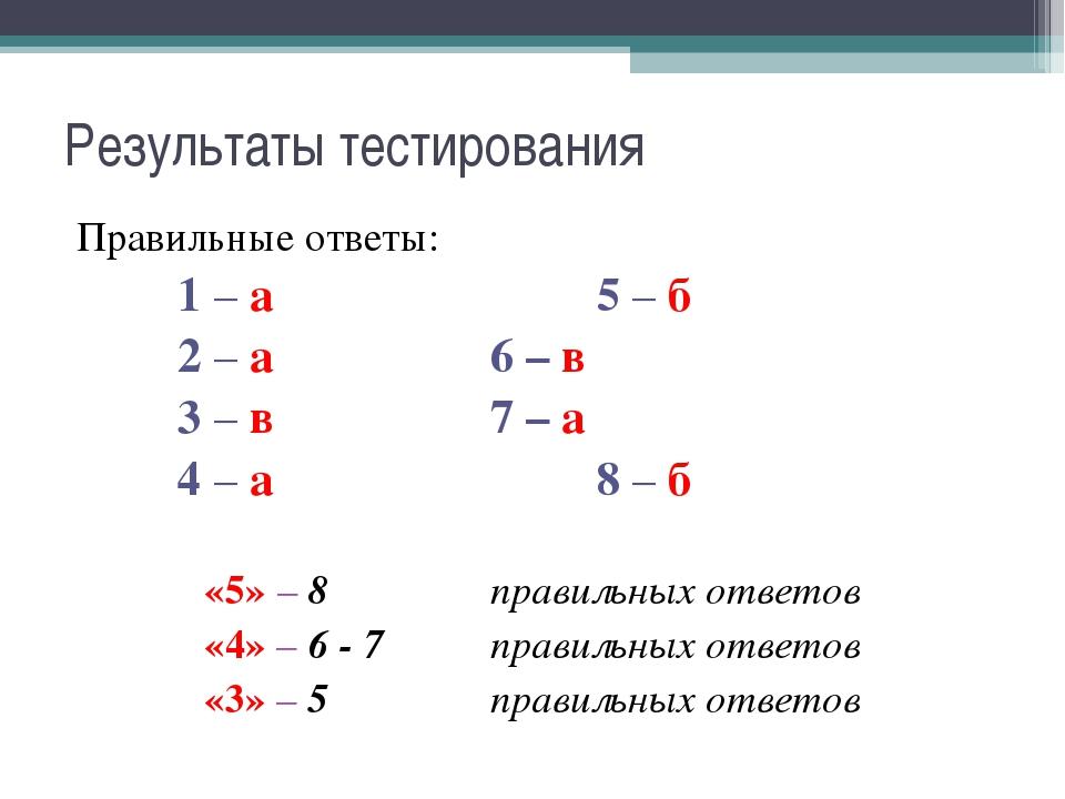 Результаты тестирования Правильные ответы: 1 – а  5 – б 2 – а6 – в 3 –...