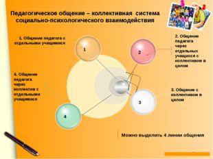 2. Общение педагога через отдельных учащихся с коллективом в целом 3. Общение