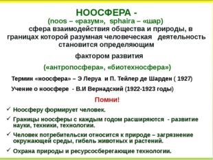 НООСФЕРА - (noos – «разум», sphaira – «шар) сфера взаимодействияобществаип
