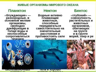ЖИВЫЕ ОРГАНИЗМЫ МИРОВОГО ОКЕАНА Планктон Нектон Бентос «блуждающие»— разноро